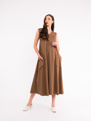 Reva Knit Dress - Olive Brown