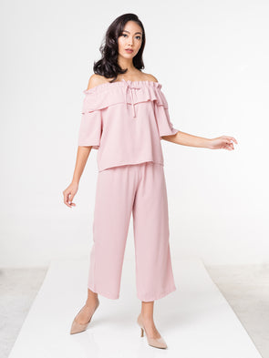Sasha Off Shoulder Set - Pink