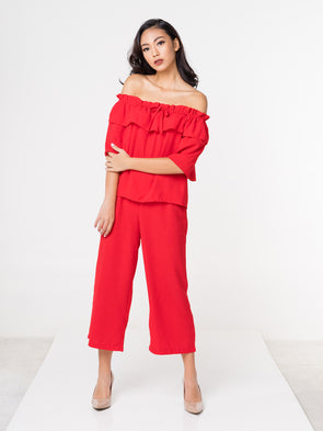 Sasha Off Shoulder Set - Red