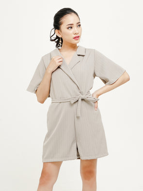Tithianne Striped Jumpsuit - Grey