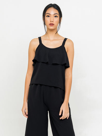 Tristan Ruffle Top - Black