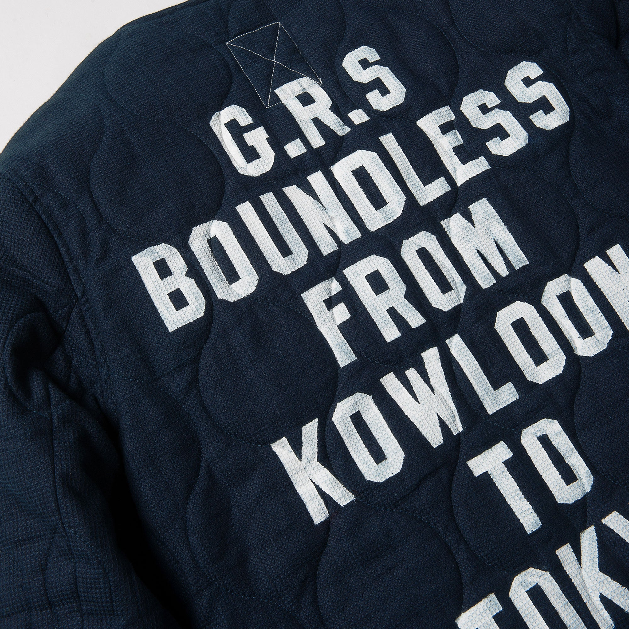 BOUNDLESS SERIES - HAND PAINTED SASHIKO QUILTED JACKET by HK SIGN PAINTER MAN LUK