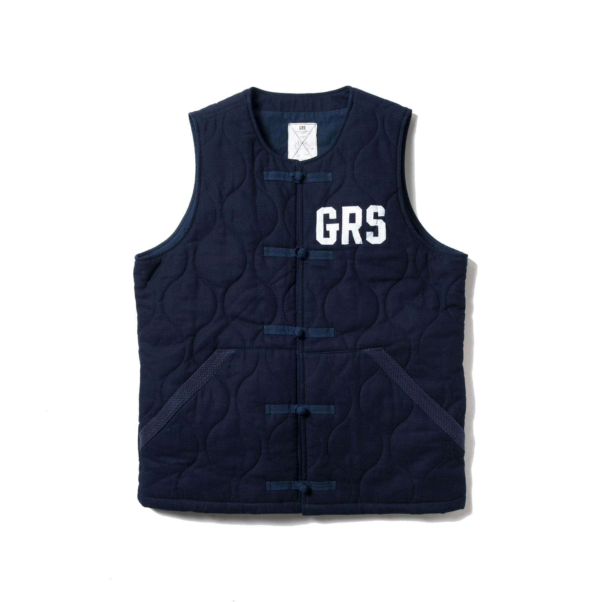 BOUNDLESS SERIES - HAND PAINTEDS SASHIKO QUILTED VEST by HK SIGN PAINTER MAN LUK