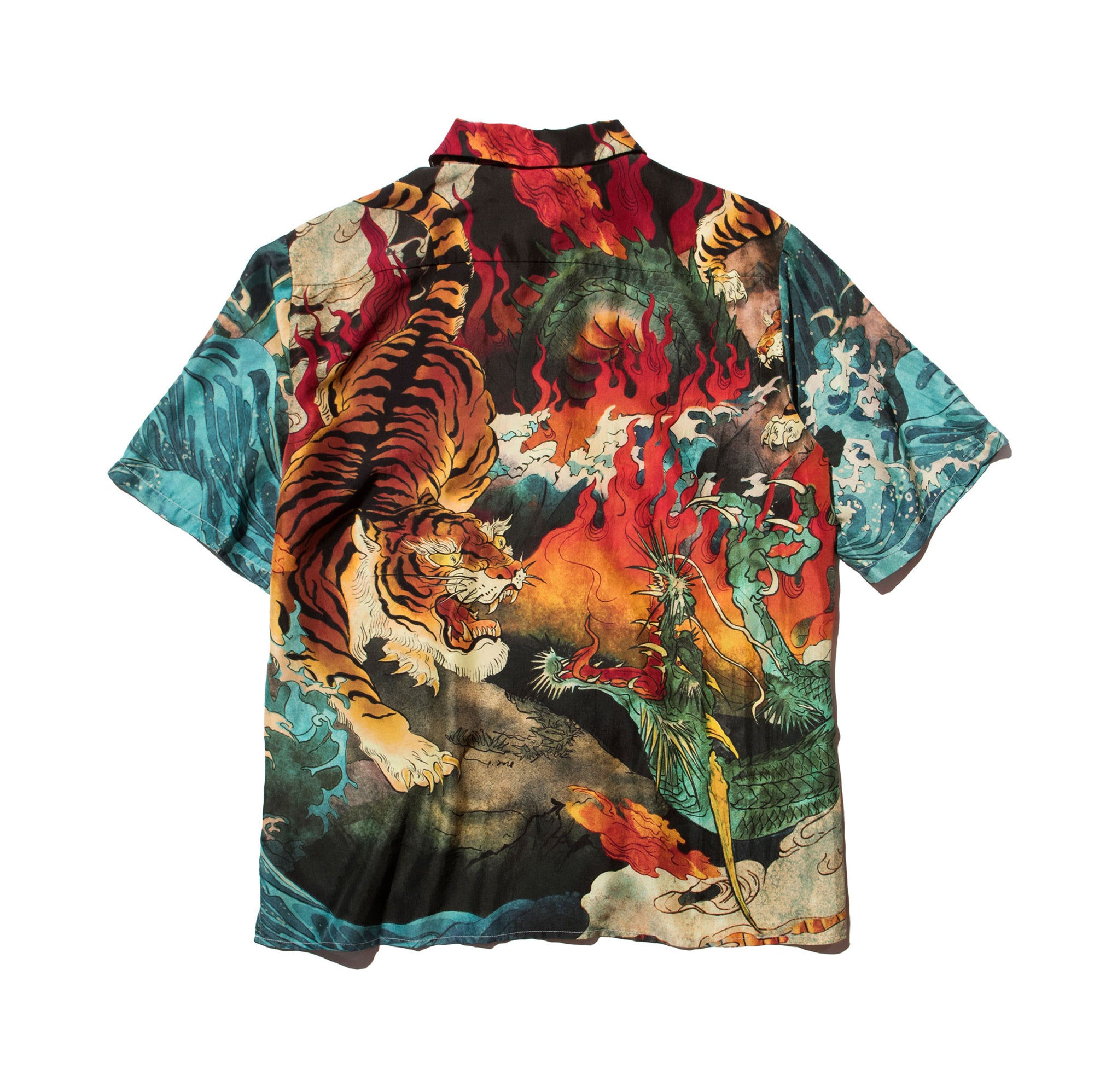 DOWNHILL TIGER & DRAGON PRINT SILK BOWLING SHIRT