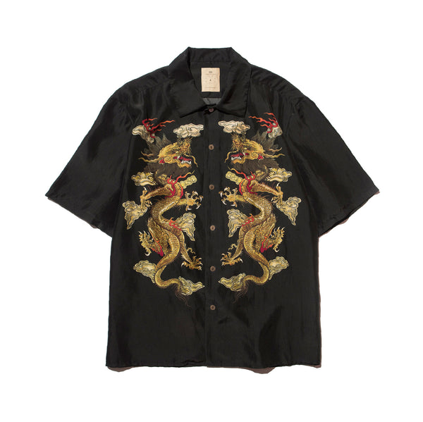 KOWLOON DOUBLE DRAGON PRINT SILK BOWLING SHIRT