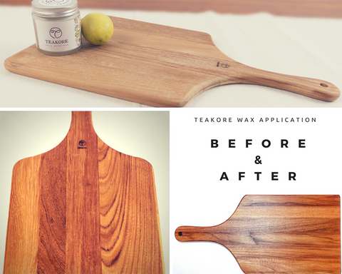 Teakore wood wax before after image