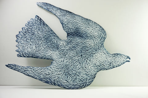 Collision Risk (Gyrfalcon) 2018, collect 2018, kilnformed glass, amanda simmons