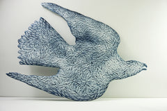 large Gyrfalcon wall panel, collision risk, Collect 2018, amanda simmons