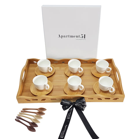 Aulica Wooden Tray and Cups Set with Free Mocca Spoons-AULICA-Apartment 51 Dubai UAE