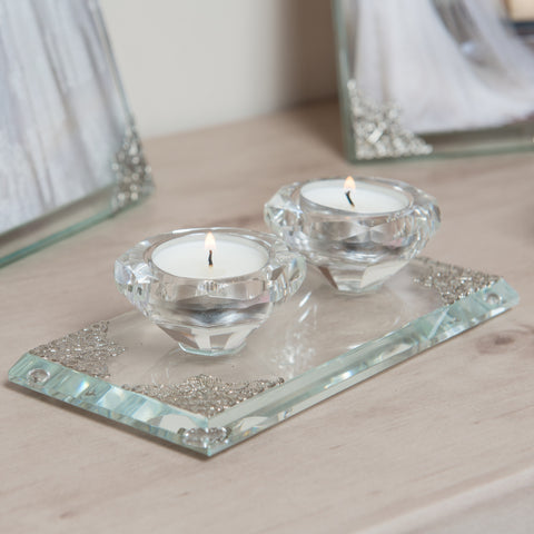 Aulica Hexagonal Crystal Candle Holder Set, 2 Pieces