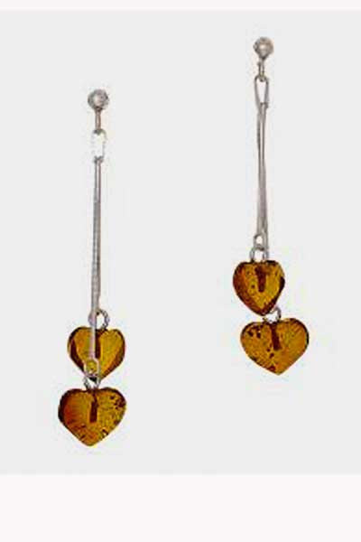 Amber Earrings - Dangling Hearts