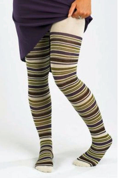Women's Organic Cotton Tights -Striped (size S)