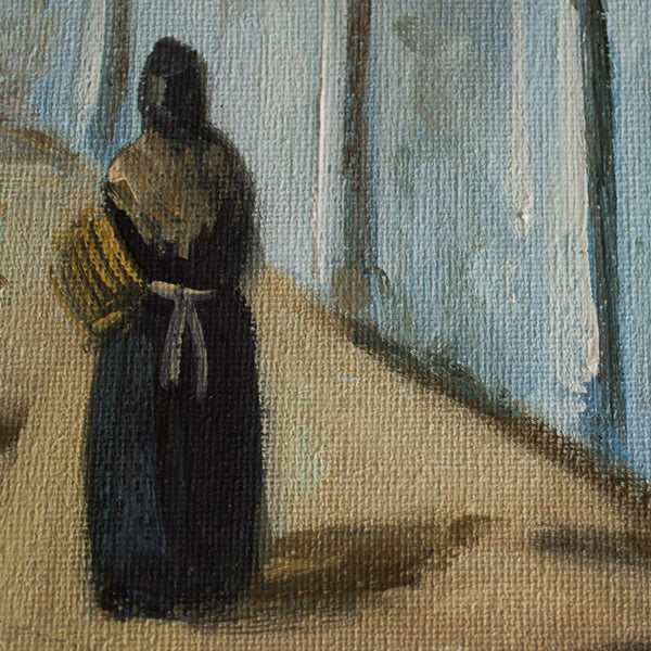 oil on canvas, village in Ibiza, detail of a woman in a traditional local dress