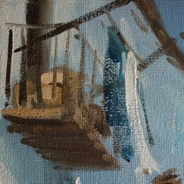 oil on canvas, village in Ibiza, detail of a balcony from a local building