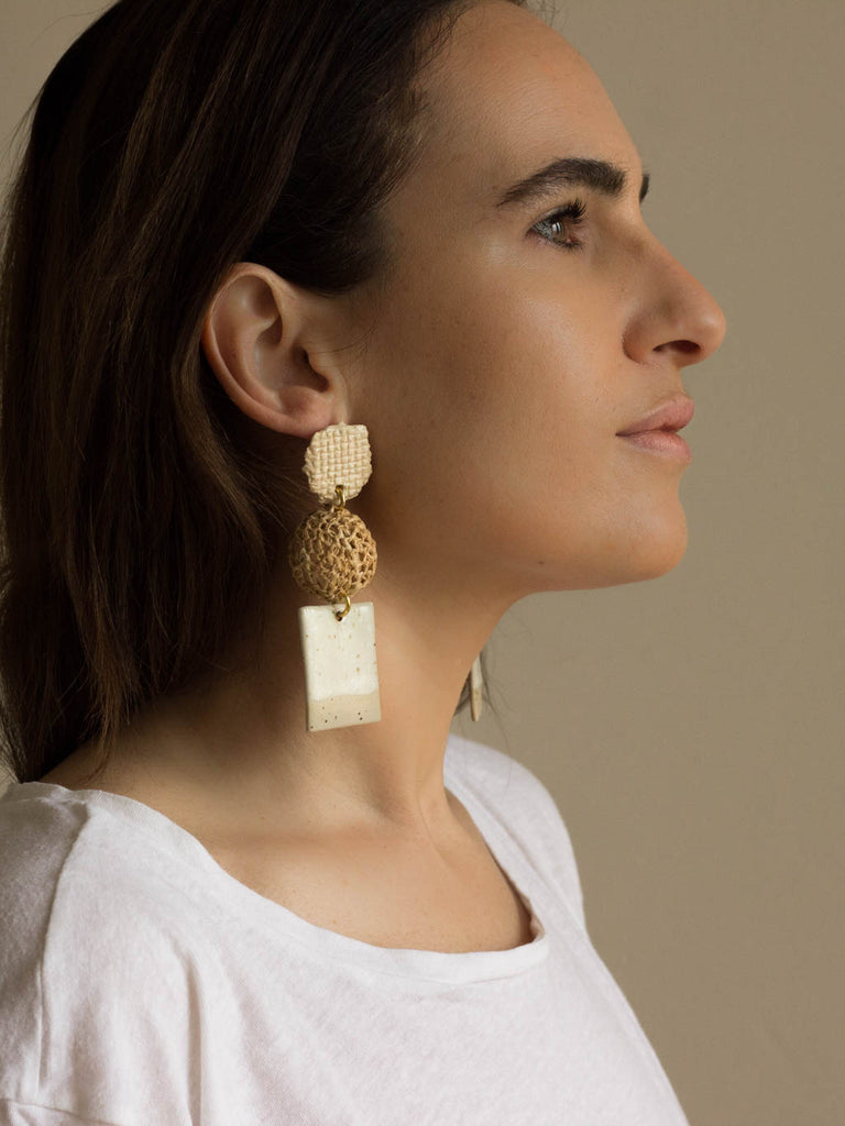 ceramic and raffia earrings, sabellar and verbena.