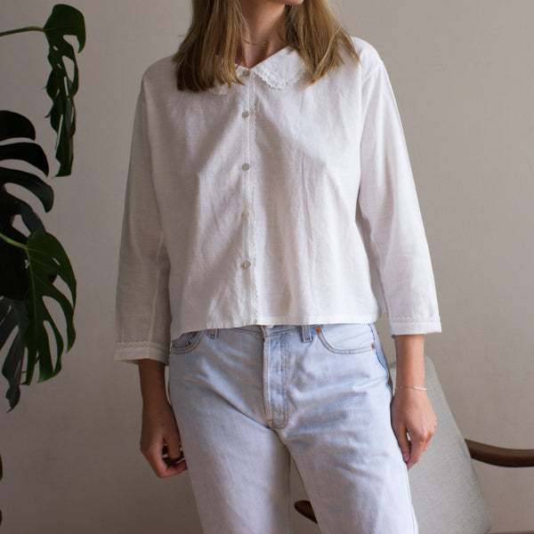 Old cotton vintage blouse, antique from Mallorca