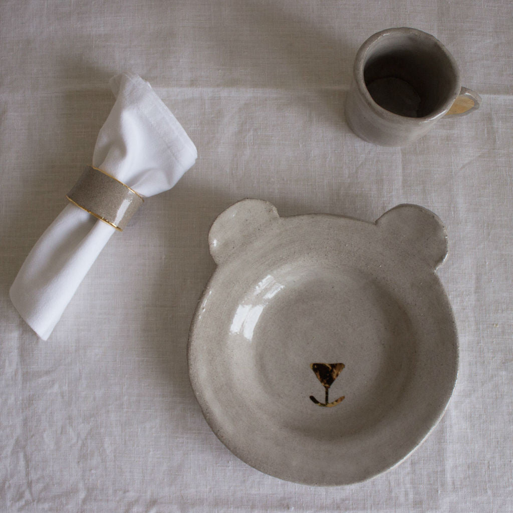 Clay kit for children: glass, bear-shaped plate and napkin holder. Sabellar and Bonjour