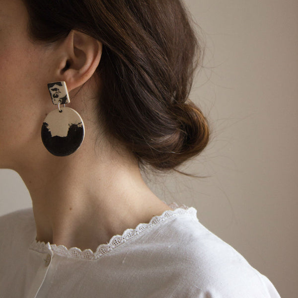 Model with Panda ceramic earrings, black and white clay
