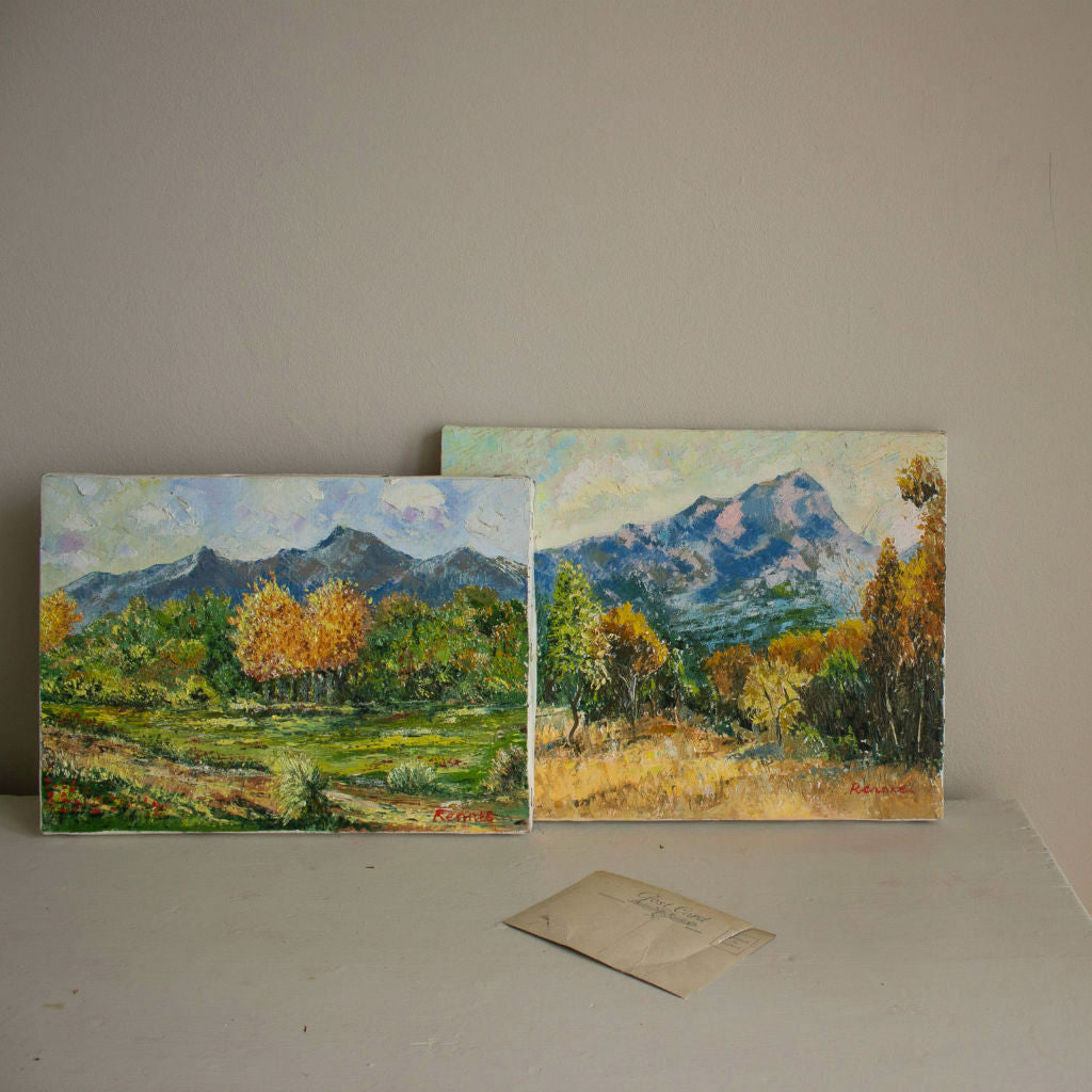 Traditional Majorcan landscapes, two paintings, oil on canvas, dated late 20th century