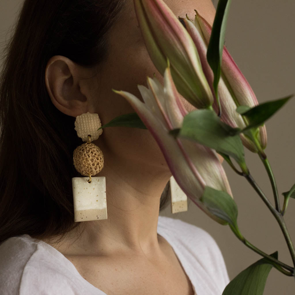 ceramic and raffia earrings from verbena and sabellar and flowers