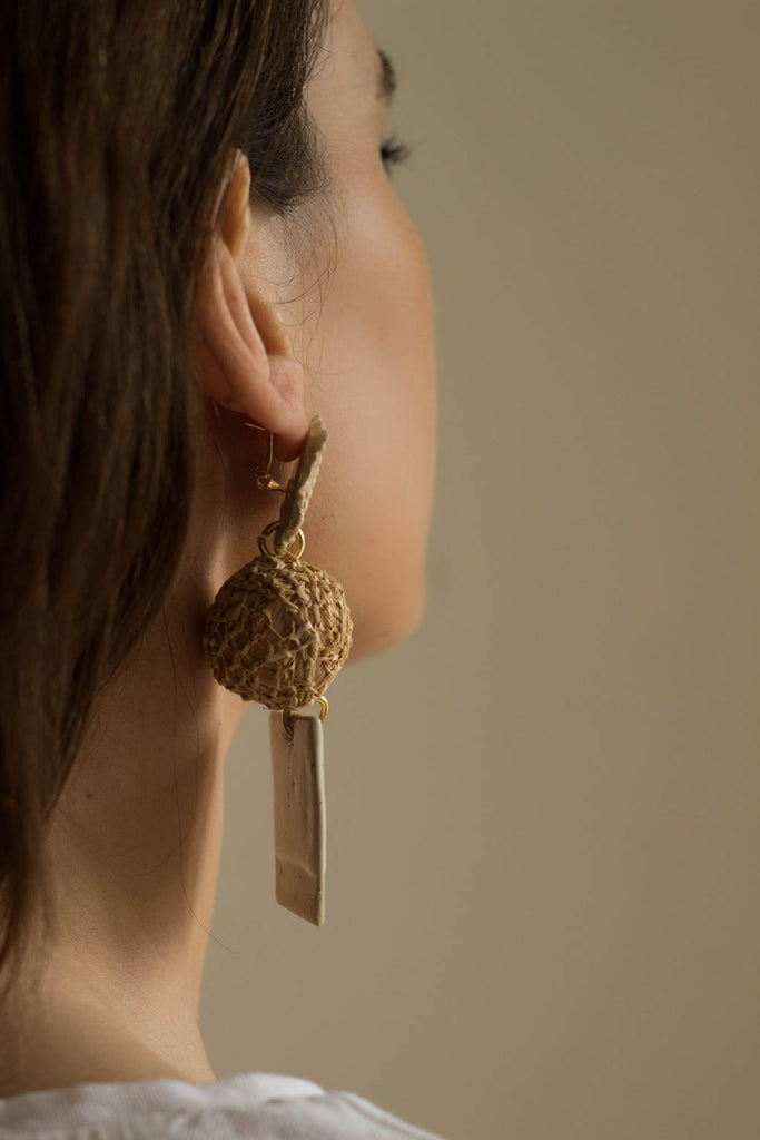ceramic and raffia earrings from verbena and sabellar.