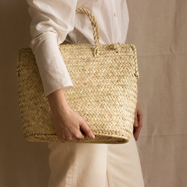 Plaited palm leaves handmade handbag from Mallorca