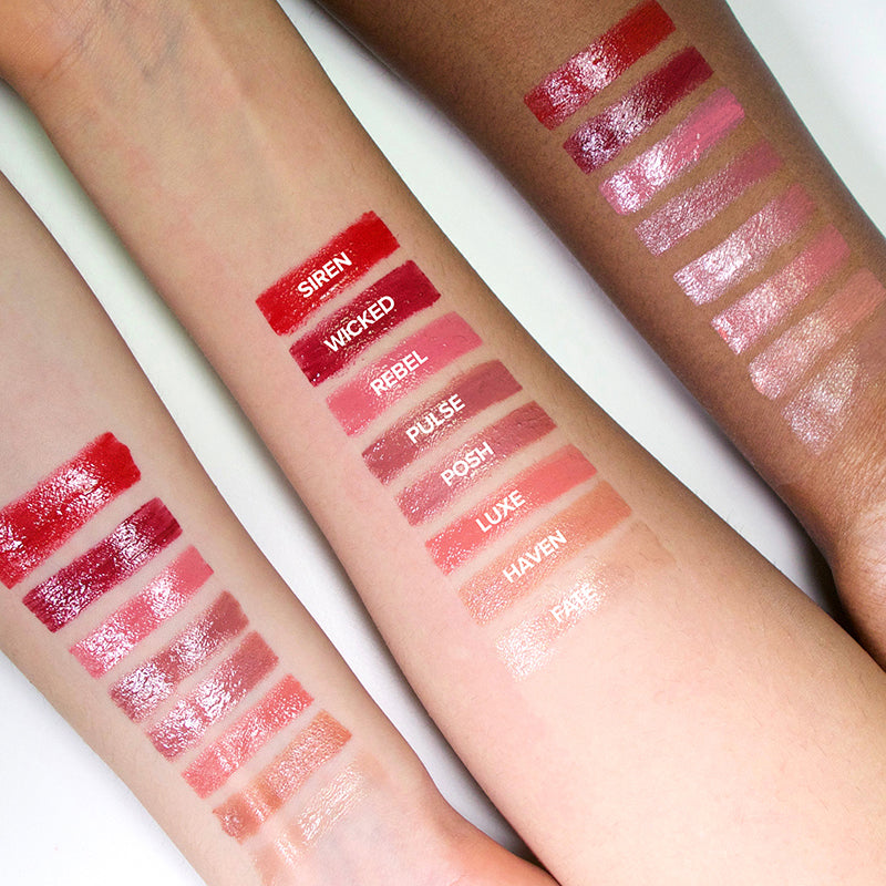 Pulse, Rebel, Fate, Posh, Wicked, Siren, Haven, Luxe, Three arms with swatches of all Nudestix Gel Color Lip + Cheek Balms