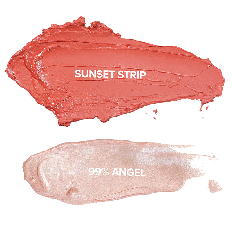 nudeskin: blush + glow kit makeup swatches in sunset strip and 99% angel