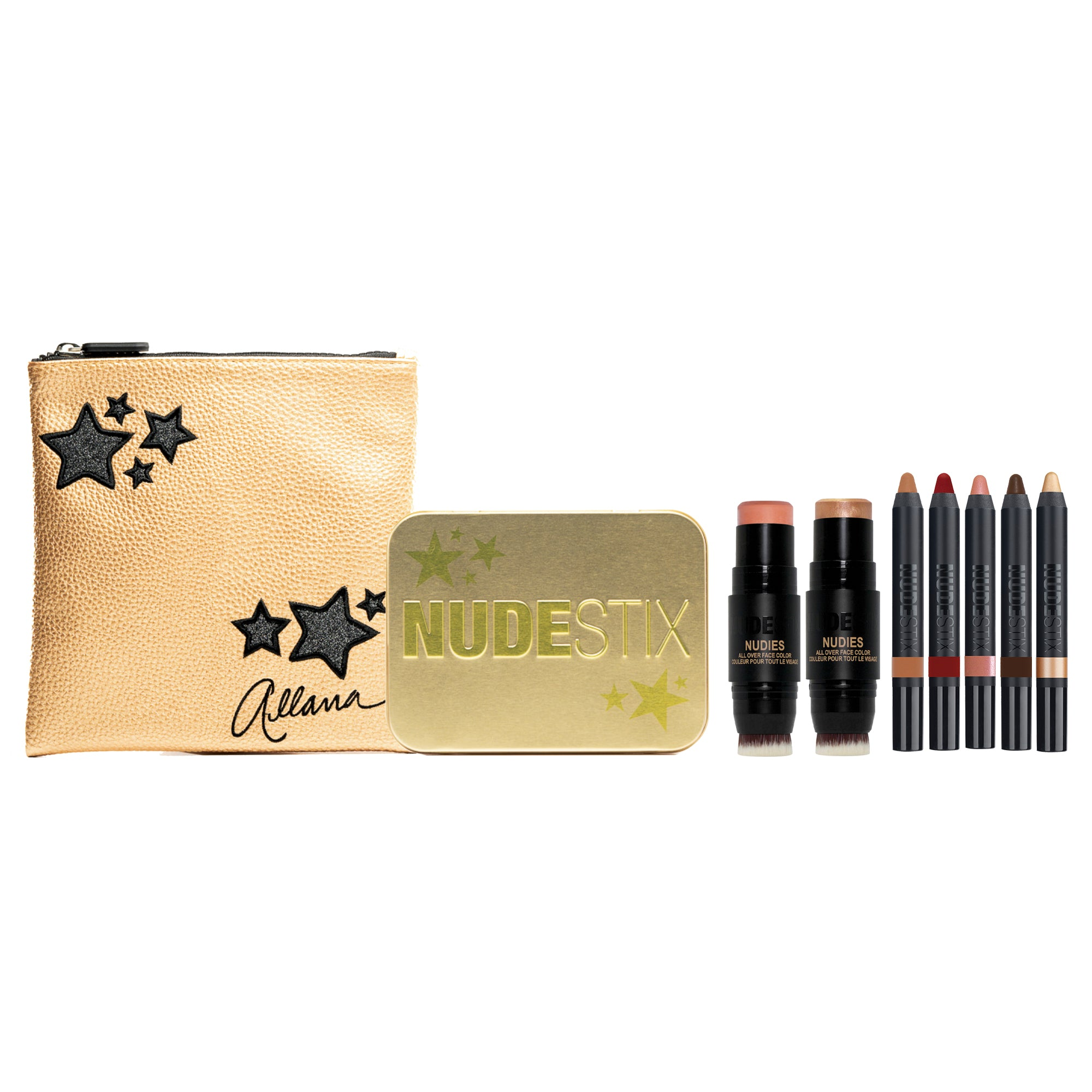NUDESTIX Matinee to Soiree Kit products with gold makeup pouch and gold makeup tin