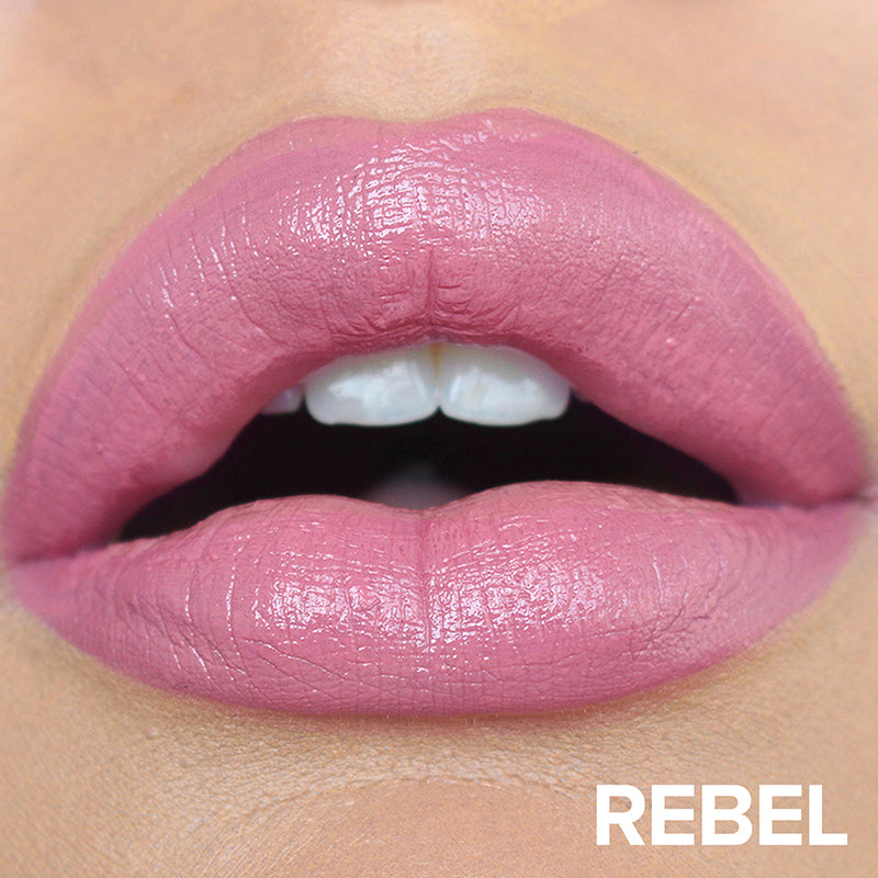 Rebel, Lips wearing Nudestix Gel Color Lip + Cheek Balm in Rebel