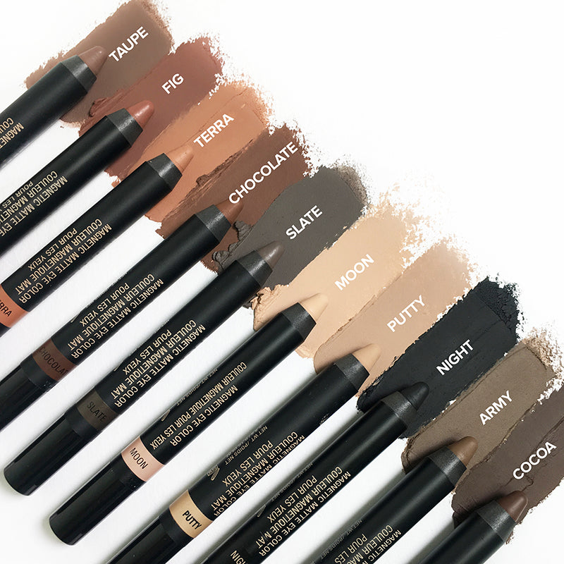 Nudestix Magnetic Matte Eye Color pencils in Taupe, Fig, Terra, Chocolate, Slate, Moon, Putty, Night, Army, Cocoa