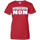 Wing Chun Mom t shirt mockup - Style Ladies Custom 100% Cotton T-Shirt - Color Red