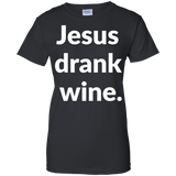 Jesus Drank Wine t shirt mockup - Style G200L Gildan Ladies' 100% Cotton T-Shirt - Color Black