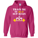 Training To Beat Superman t shirt mockup - Style G185 Gildan Pullover Hoodie 8 oz. - Color Heliconia