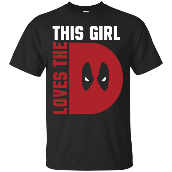 This Girl Loves The D Deadpool t shirt mockup - Style G200 Gildan Ultra Cotton T-Shirt - Color Black