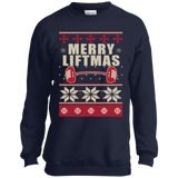 Merry Liftmas - Workout Ugly Christmas Sweater t shirt mockup - Style PC90Y Port and Co. Youth Crewneck Sweatshirt - Color Navy