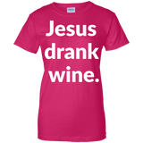 Jesus Drank Wine t shirt mockup - Style G200L Gildan Ladies' 100% Cotton T-Shirt - Color Heliconia