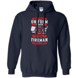 Being A Fire Man t shirt mockup - Style G185 Gildan Pullover Hoodie 8 oz. - Color Navy