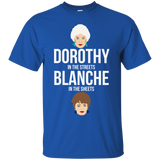 Dorothy In The Streets Blanche In The Sheets t shirt mockup - Style G200 Gildan Ultra Cotton T-Shirt - Color Royal
