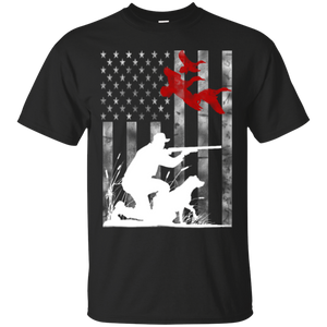 Duck Hunting USA Flag t shirt mockup - Style G200 Gildan Ultra Cotton T-Shirt - Color Black