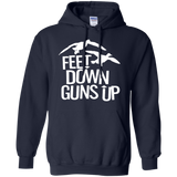 Feet Down Guns Up - Duck Hunting t shirt mockup - Style G185 Gildan Pullover Hoodie 8 oz. - Color Navy