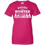 Never Mess With A Hunter t shirt mockup - Style G200L Gildan Ladies' 100% Cotton T-Shirt - Color Heliconia