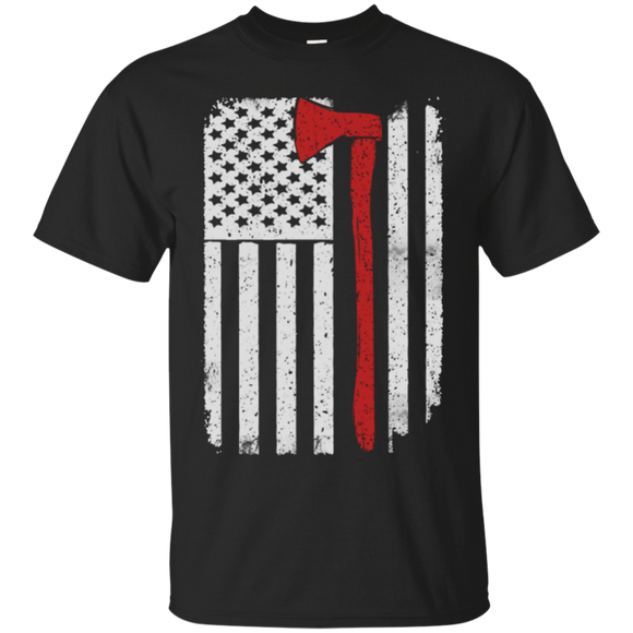 Firefighter Axe US Flag t shirt mockup - Style G200 Gildan Ultra Cotton T-Shirt - Color Black