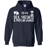 Sex, Weights & Protein Shakes t shirt mockup - Style G185 Gildan Pullover Hoodie 8 oz. - Color Navy