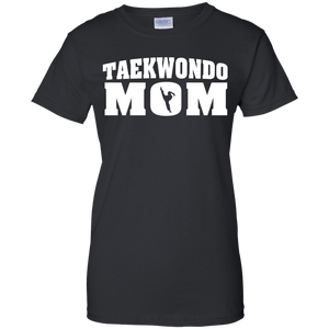Taekwondo Mom t shirt mockup - Style Ladies Custom 100% Cotton T-Shirt - Color Black