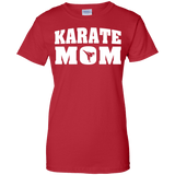 Karate Mom t shirt mockup - Style Ladies Custom 100% Cotton T-Shirt - Color Red
