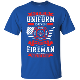 Being A Fire Man t shirt mockup - Style G200 Gildan Ultra Cotton T-Shirt - Color Royal