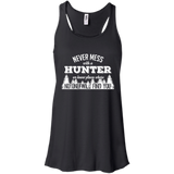 Never Mess With A Hunter t shirt mockup - Style B8800 Bella + Canvas Flowy Racerback Tank - Color Black