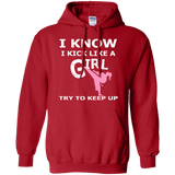 Karate Girl t shirt mockup - Style Pullover Hoodie 8 oz - Color Red