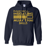 Installing Muay Thai Skills t shirt mockup - Style Pullover Hoodie 8 oz - Color Navy